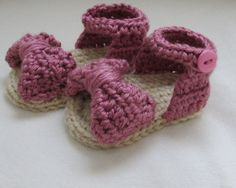 FREE SHIPPING/ Baby Girl Handmade Crochet 3-6 month Bow Sandals/ Baby Shower Gift/ Baby Shoes/ Photo Prop Ready to Ship/ Joella Crochet on Etsy, $20.95