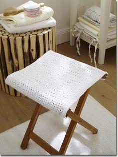 Deco Boheme, Chrochet, Vanity Bench, Interior Styling, Stool, Diy Crafts, Knitting, Projects, Handmade