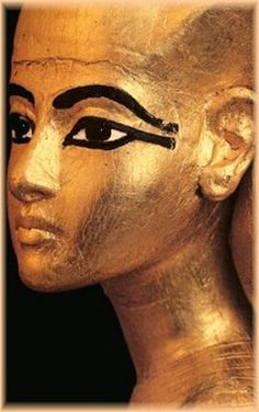 This looks very much like Selket, the Scorpion Goddess and one of four whom surrounded King Tutankhamen's beautifully gold gilded canopic chest. It's difficult to recognize her without more of the statue, but her head was the only one which was slightly turned. She is absolutely stunning!