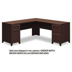 """NEW - 72""""W x 72""""D L-Desk (B/D, F/F) Box 2 of 2 Enterprise: Mocha Cherry - 2910MCA203 by Bush. $376.00. 28. Durable melamine surfaces are dent- and scratch-resistant. Drawers operate on full-extension ball bearing slides; file drawers accommodate letter and legal size files. Integrated 4-port USB hub. Convenient wire management. Three-quarter height modesty panel. Leveling glides help compensate for uneven flooring. Color: Mocha Cherry; Pedestal Count: 2; Top Shape: L-Shape."""