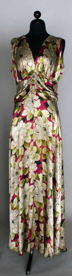 Summer Gown: ca. 1940's, charmeuse ground with floral print.