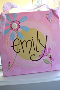 12x12 personalized girls name flower canvas.