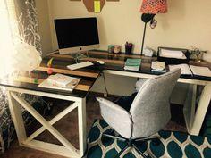 L Shaped Double X Desk – Handmade Haven Diy Office Desk, Diy Computer Desk, Diy Wood Desk, Diy Desk, Woodworking Furniture Plans, Woodworking Projects Diy, Woodworking Logo, Woodworking Chisels, Woodworking Basics
