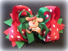 Fancy Fawn Reindeer Christmas Boutique Hair Bow Red Green Dot Rudolph 3 layer Hairbow Baby Girls Toddler on Etsy, $6.50