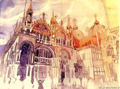 architectural watercolors by Maja Wrońska, via Behance