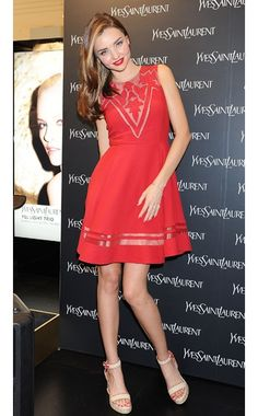 Miranda Kerr WHAT:  Jill Stuart dress, Barbara shoes, Stonehenge jewelry WHERE:  The Saint Laurent store, Seoul
