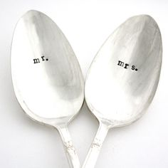 the cutest spoons for Mr. & Mrs.