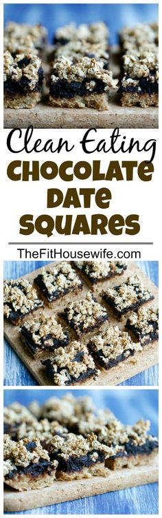 Clean Eating Chocolate Date Squares. Healthy recipe. No added sugar, vegan, paleo.