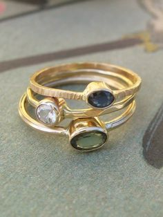 Green Sapphire Ring in 14k Gold. $190.00, via Etsy.