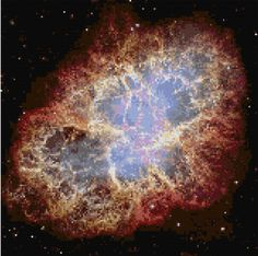 Cross stitch pattern Crab Nebula - Hubble Telescope PDF- EASY chart with one color per sheet And regular chart! Two charts in one! by HeritageCharts on Etsy