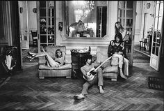 Keith Richards, Anita Pallenberg and Gram Parsons in grand flophouse mode at the 16-bedroom villa, where they recorded Exile On Main St in 1971. Tarlé was given unprecedented access to the private life of the band while they created the seminal album Photograph: Dominique Tarlé