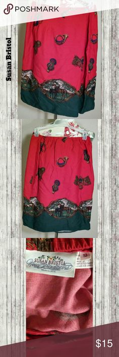 Vintage Equestrian Skirt A pretty red and green wrap skirt depicting horses, horns, and other equestrian images. Fits about a 27-30 inch waist. Pre-loved but in great condition with no visible flaws. #horses #vintage #country #equestrian #susanbristol #usa Vintage Skirts