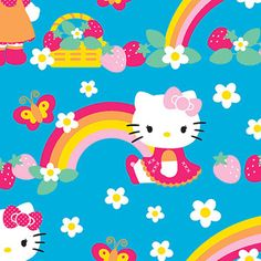 "Springs Creative Hello Kitty Fleece Strawberry Rainbow 59"" wide Fabric by the Yard"