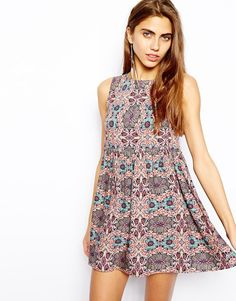 River Island | River Island Button Back Print Smock Dress at ASOS