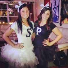 Salt and pepper Halloween costumes with tutus