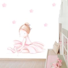Decoración infantil Il Mondo di Alex, Papel mural efecto pintado a mano, BAILARINA SENTADA RUBIA ... personalizado con nombre o frase y a medida.