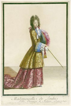 Mademoiselle de Loube, Fille d'honneur de madame, en habit de Chasse., Antoine Trouvain, na 1692 - ca. 1695