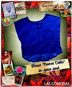 Blusa en gasa Nueva Delhi  Color: Azul