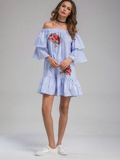 Robe à rayures avec des plis et des pièces des fleurs-French SheIn(Sheinside)