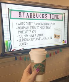 On Friday, I tried something new called 'Starbucks Time' Students worked on . - On Friday, I tried something new called 'Starbucks Time' Students worked on their vocabulary in - 5th Grade Classroom, Middle School Classroom, Classroom Design, Future Classroom, Highschool Classroom Decor, Decorating High School Classroom, Middle School Rewards, Year 6 Classroom, Elementary Science Classroom