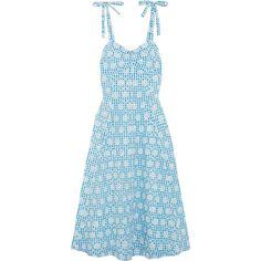 Miguelina Mina broderie anglaise gingham cotton midi dress (699 AUD) ❤ liked on Polyvore featuring dresses, light blue, light blue midi dress, cotton fit and flare dress, fit-and-flare midi dresses, midi dress and gingham dress