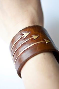 Archer's tooled leather cuff gold blue and brown by TrimGoTrix