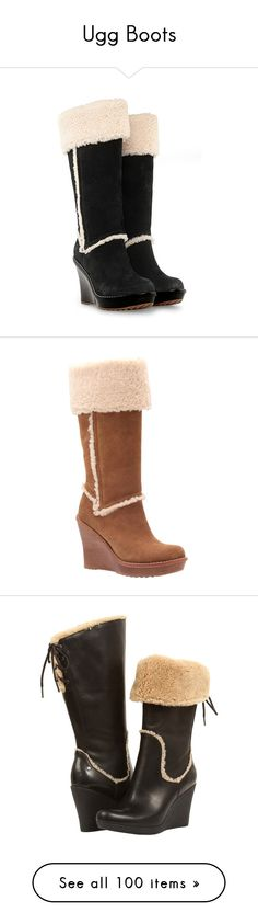 """""""Ugg Boots"""" by jacci0528 ❤ liked on Polyvore featuring shoes, boots, black, heels, mid-calf boots, black knee high heel boots, black wedge knee high boots, wedge boots, wedge heel boots and knee high platform boots"""