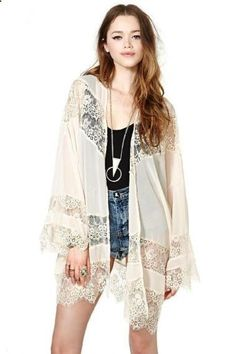 Want! Want! Want! Love the Lace Jacket! Long Sleeves Lace Splicing Chiffon Coat #Boho #Chic #Bohemian #Fringe #Jacket #Fashion