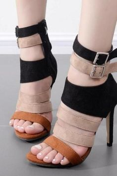 Women's High Heels Ankle Sandals Gladiator Shoes Buckle Hollow Out Open Toe - Nathan Davenport Fashion Gladiator Shoes, Strappy Sandals Heels, High Heels Stilettos, Stiletto Heels, Shoes Heels, Sandals Outfit, Tan Shoes, Women Sandals, Looks Plus Size