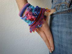 Alcea Biennis ... Freeform Crochet Cuff por irregularexpressions