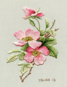 Briar Rose by Trish Burr  More incredible needle painting.  I can almost smell them!