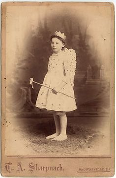 Cute Little Girl Fairy Costume Party Wand Crown Brownsville PA Cabinet Card | eBay