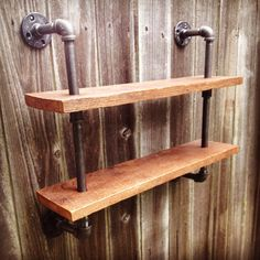 Customizable Pipe Double Bookshelf Reclaimed Wood by iReclaimed