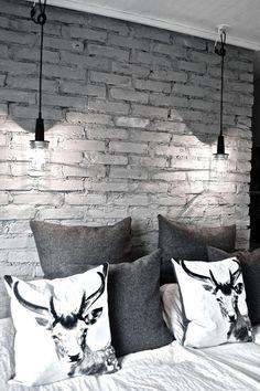Apartment Decore 16 Beautiful Exposed Brick Wall Bedroom Ideas : Stylish Exposed Brick Wall Bedroom Design with Animal Print Pillows and Two Hanging Lamps al. Interior Design With Brick Walls, Modern Home Interior Design, Brick Design, Interior Architecture, White Brick Walls, Grey Brick, White Bricks, Black Brick Wall, Painted Brick Walls