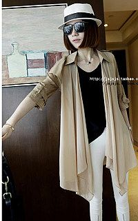 newversion of the woman in the autumn Lady solid color long sleeves straight-type thin belt windbreaker