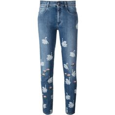 Stella McCartney 'Skinny Boyfriend' swan print jeans (44.745 RUB) ❤ liked on Polyvore featuring jeans, bottoms, blue, stella mccartney, blue skinny jeans, 5 pocket jeans, super skinny jeans and print jeans