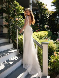 Style CORDELIA includes long lace sleeves and a V open back, perfectly blending a sexy and elegant style. Chantilly lace fabric with sequins covers this gown from top to bottom, creating an effortlessly beautiful look. Lace Mermaid, Mermaid Wedding, Bridal Gowns, Wedding Gowns, Boho Wedding, Fall Wedding, Wedding Venue Inspiration, Wedding Ideas, Space Wedding