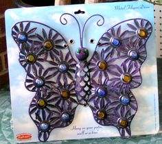 This heavy iron Butterfly is beautiful and embellished with blue and yellow mosiac stones. Butterfly Mosaic, Mosaic Art, Yellow, Blue, Iron, Beautiful, Mosaics, Steel