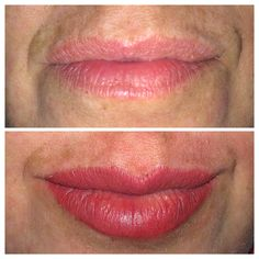 These pretty new tattooed lips are created using a contouring technique that makes the lip look fuller!