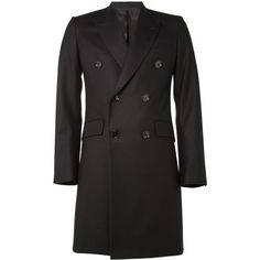 Alexander McQueen Double-Breasted Wool Overcoat (3.450 BRL) ❤ liked on Polyvore featuring men's fashion, men's clothing, men, jackets, mens clothing and men's apparel