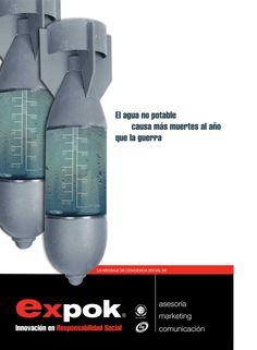Cartel para generar conciencia acerca del problema de escasez de agua potable en el mundo; diseñado para Expok.