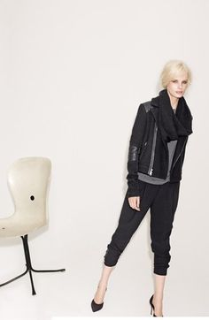 Vince Moto Jacket, Tee & Harem Pants  available at #Nordstrom - love love this jacket
