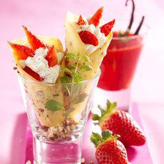 Petits cornets croquants vanille-fraise