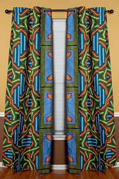 Get 2 African print curtains with the price of Your house don't have to be so conventional. Our awesome African Print double sided window curtains transform a neglected essential into an awesome statement piece. Featuring a double-sided print. Living Room Decor Curtains, Decoration Bedroom, Cute Dorm Rooms, Cool Rooms, African Interior Design, African Design, African Home Decor, Printed Curtains, African Fabric