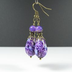 Teardrop earrings, nickel free, vintage style dangle earrings, antique brass, glass bead earrings, purple earrings, blue earrings, gift by AndesBeads on Etsy