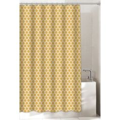 Morocco Gold Shower Curtain - BedBathandBeyond.com. Med weight, slightly textured $30. 25% cotton, 75 poly.
