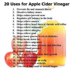 <3 20 Uses for CIDER VINEGAR: (1)Prevents flu and stomach illness. (2)Dissolves kidney stones. (3)Helps reduce/prevent acne. (4)Regulates pH balance in the body. (5)Helps relieve nausea. (6)Helps relieve heart burn or chronic acid reflux. (7)Helps relieve asthmatics. (8)Helps relieve allergies. (9)Helps relieve gout. (10)Helps lower glucose levels in diabetics. (11)Helps break down fat. (12)Helps relieve migraines. (13)Helps relieve sinus pressure and infection. (continued below in comment)