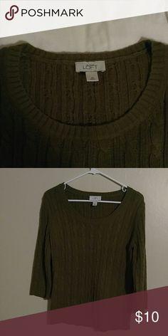 Green Loft sweater Green lentil kinda color.  Not scratchy. Feels awful nice. LOFT Sweaters Crew & Scoop Necks