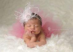 Tutu Luxe Feather Jewel Headband Set - Blush Pink - Newborn Tutu - Girls Infant Baby Child Toddler Tutu via Etsy