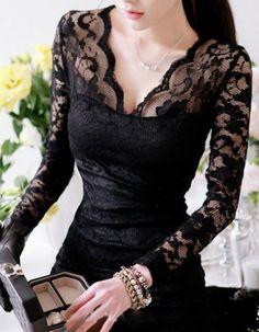 $11.50  Slim tight package hip dress sexy nightclub dress long sleeve lace  BLACK SMALL #Unbranded #StretchBodycon #Clubwear